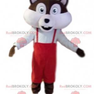 Mascote esquilo marrom e branco com macacão vermelho -