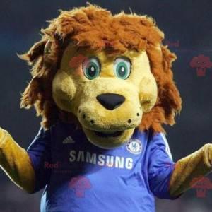Žlutý a hnědý maskot lva v modrém sportovním oblečení -