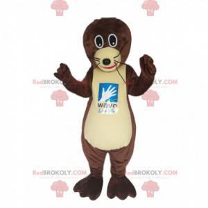 Bruine otter mascotte met grote zwarte ogen! - Redbrokoly.com