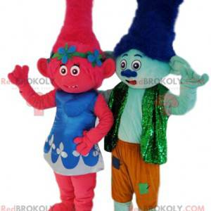 Duet maskotek małych ogrów w kolorze fuksji i błękitu -