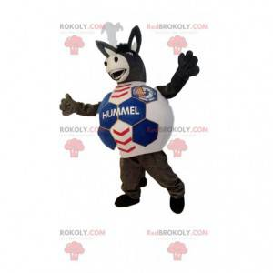 Brown donkey mascot with a body in the shape of a soccer ball -