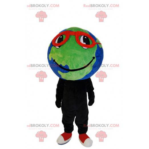 Earth mascot with red glasses and a beautiful smile -