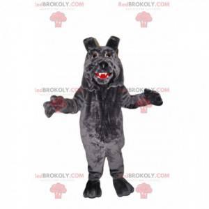 Gray dog mascot with big lips - Redbrokoly.com