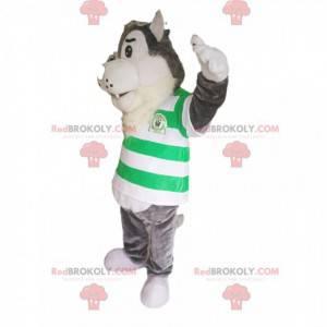 Szary wilk maskotka z zielono-białą koszulką w paski -