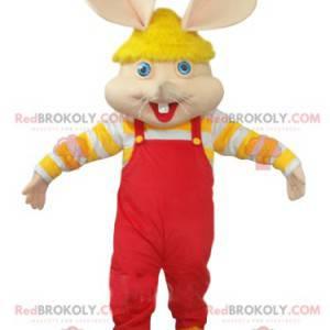 Maskot myši s červenými kombinézy a žlutou čepicí -