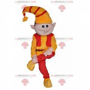 Morsom leprechaun maskot med oransje og rød hatt -