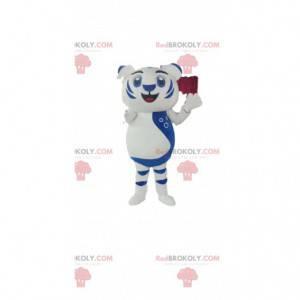 Maskottchen weißes und blaues Löwenjunges. Löwenjunges Kostüm -