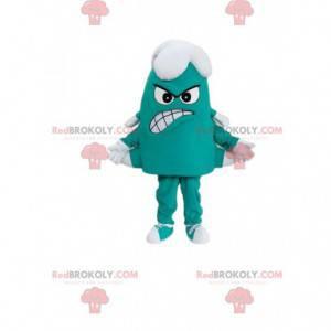 Maskot malé zelené a bílé monstrum se šesti nohama -