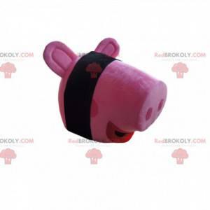 Pink pig mascot head - Redbrokoly.com