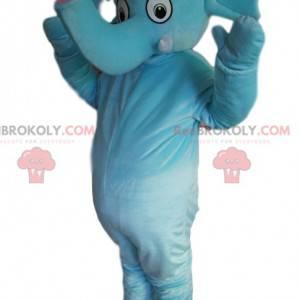 Niebieska maskotka słoń z ładnym pniem - Redbrokoly.com