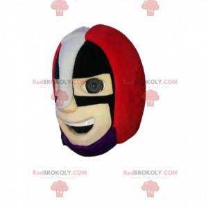 Testa della mascotte del supereroe con il casco rosso -