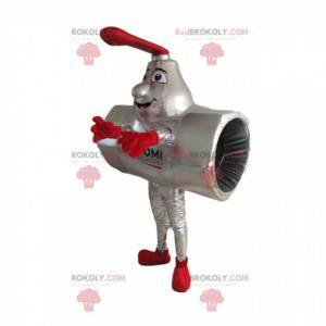 Mascotte del tubo grigio che sorride con un rubinetto rosso -