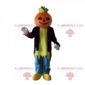 Mascote do personagem com uma abóbora - Redbrokoly.com