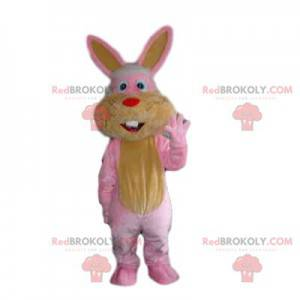 Pink and yellow rabbit mascot with a small red muzzle -