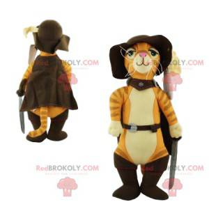 Mascot Puss in Boots very elegant, with his hat and sword -