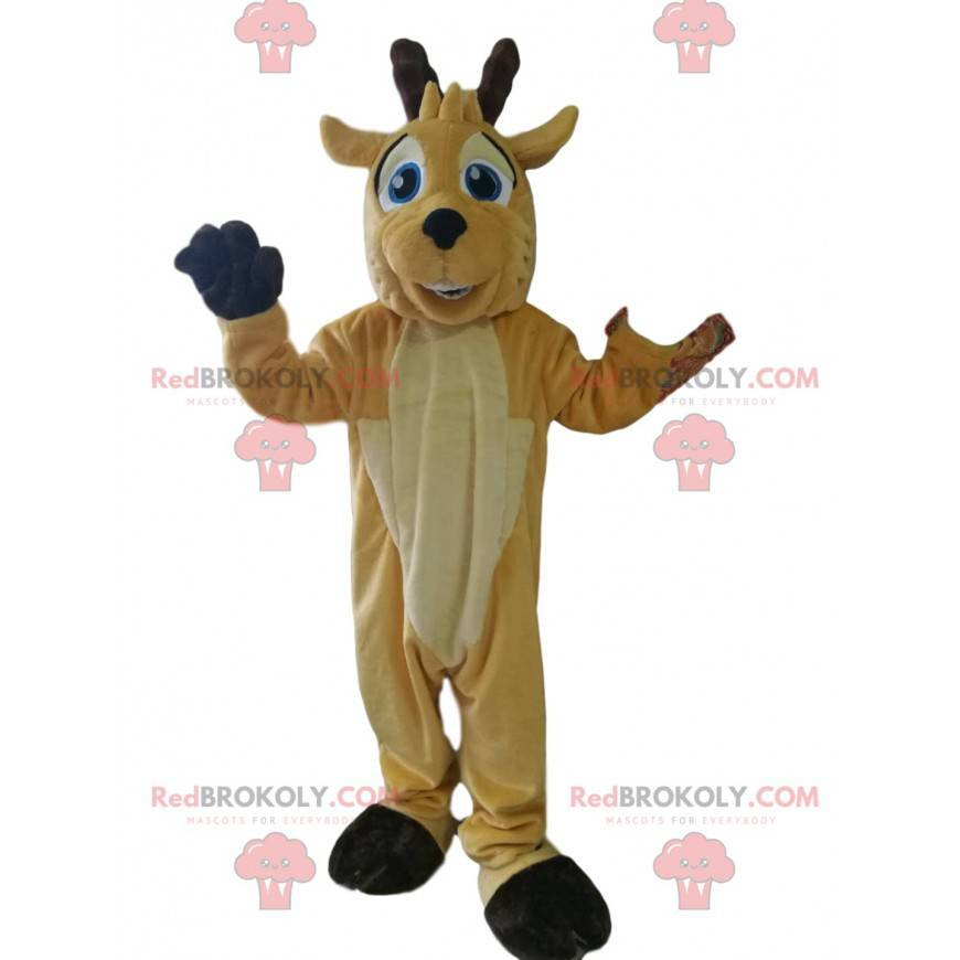 Deer mascot with a big smile and beautiful blue eyes -