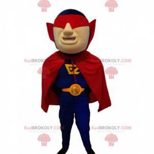 Mascota de superhéroe con una máscara roja y una capa. -