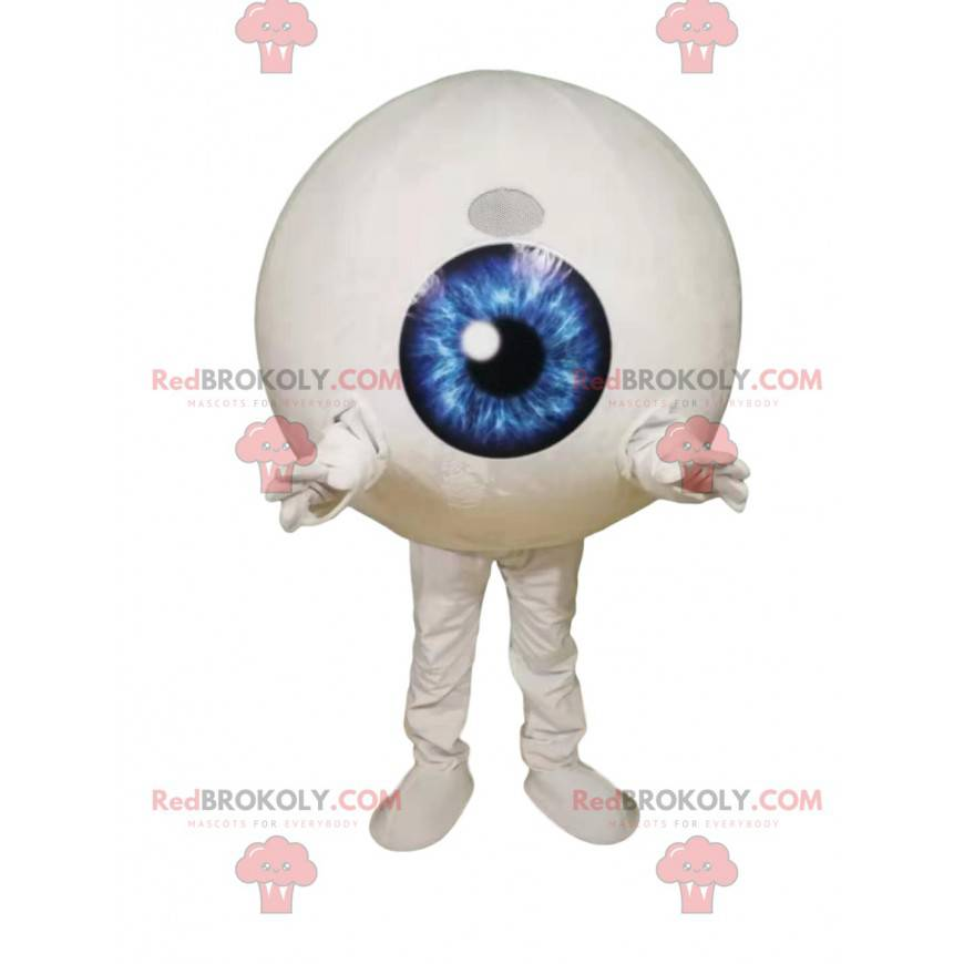 Eye mascot with an electrifying blue iris - Redbrokoly.com