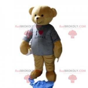 Braunbärenmaskottchen mit grauem T-Shirt - Redbrokoly.com