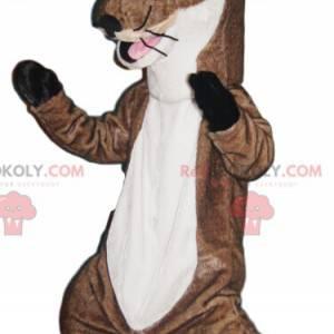 Mascote de lontra marrom e branca. Fantasia de lontra -