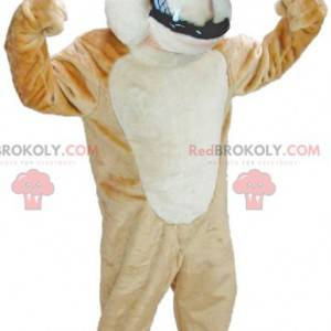 Brown and white dog mascot looking fierce - Redbrokoly.com