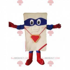 Mascote do colchão com uma venda azul! - Redbrokoly.com