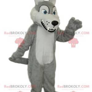Szary i biały wilk maskotka z dużymi zębami - Redbrokoly.com