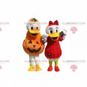 Dupla de mascote Donald e Daisy com roupa de Halloween -