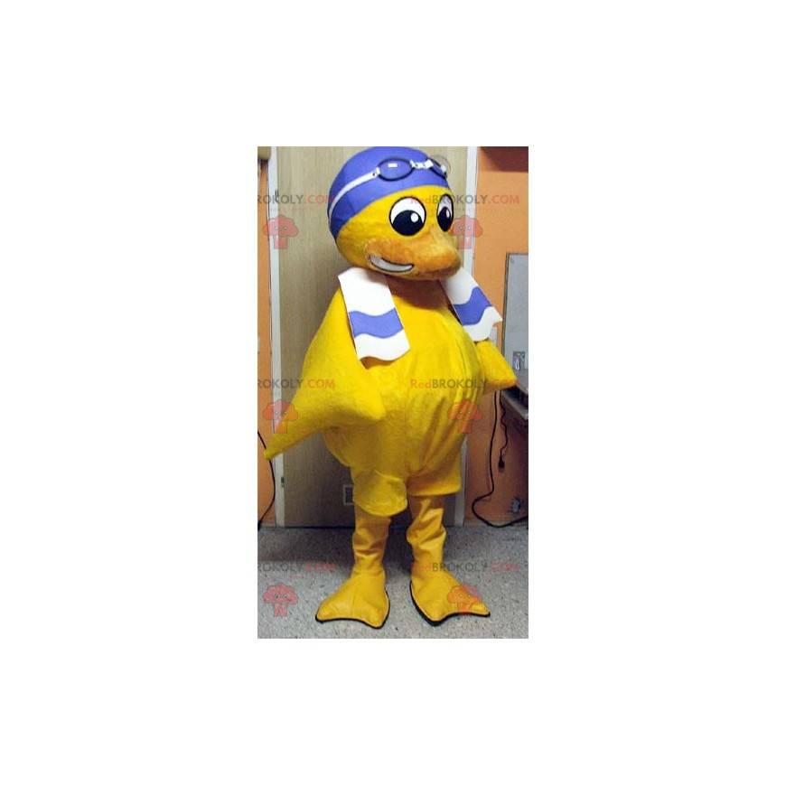 Maskottchen gelbes Küken mit einer Badekappe - Redbrokoly.com
