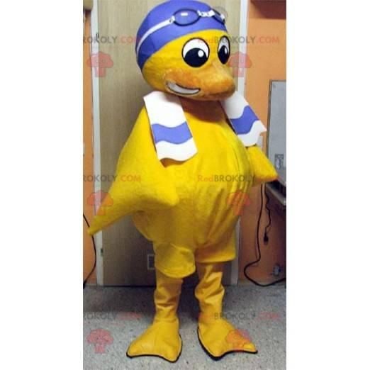 Maskot žluté kuřátko s plaveckou čepicí - Redbrokoly.com