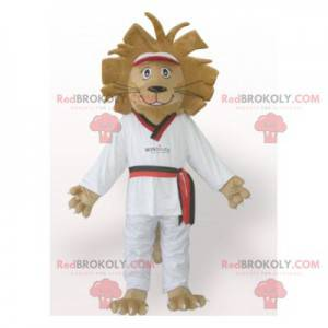 Braunes Löwenmaskottchen im weißen Kimono - Redbrokoly.com