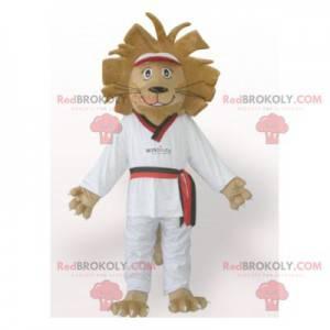 Maskot hnědý lev v bílém kimonu - Redbrokoly.com