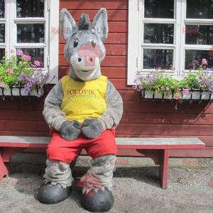 Gray donkey mascot in yellow and red outfit - Redbrokoly.com