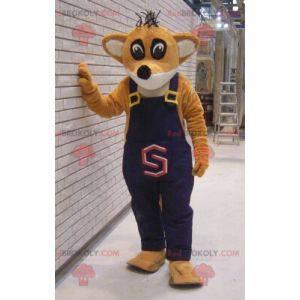 Orange and white fox mascot in overalls - Redbrokoly.com