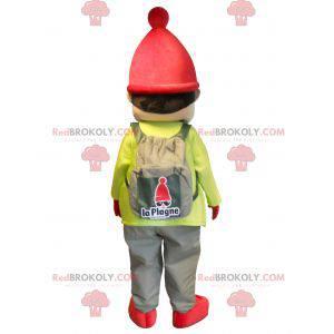 Liten gutt maskot kledd i skiutstyr - Redbrokoly.com