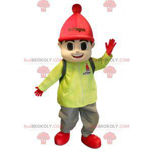 Little boy mascot dressed in ski outfit - Redbrokoly.com