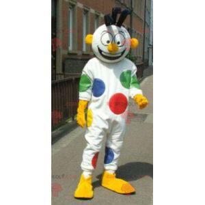 Mascote de boneco de neve branco com bolinhas de palhaço -