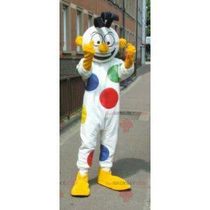 Biały bałwan maskotka w kropki klauna - Redbrokoly.com