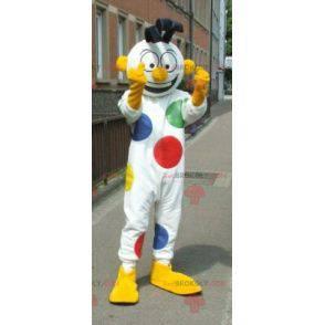 Maskot bílý sněhulák s puntíky klaun - Redbrokoly.com