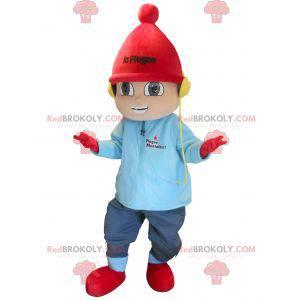 Kleine jongen mascotte op wintervakantie - Redbrokoly.com