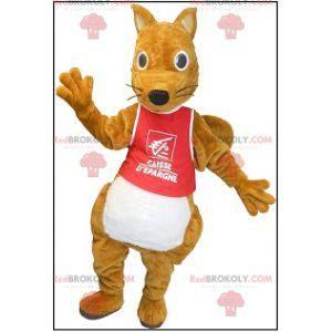 Mascotte scoiattolo marrone grassoccia e carina - Redbrokoly.com