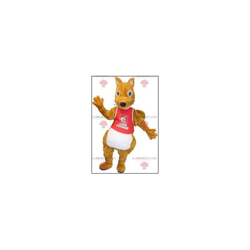 Baculatý a roztomilý hnědý veverka maskot - Redbrokoly.com