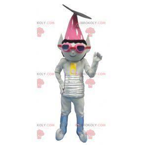 Kovově šedý mimozemský troll maskot - Redbrokoly.com