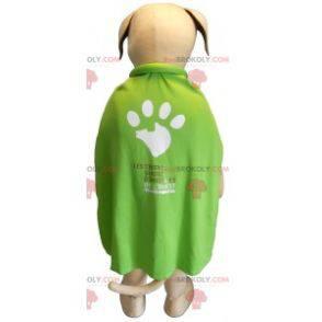 Beżowo-biała maskotka psa z zieloną peleryną - Redbrokoly.com