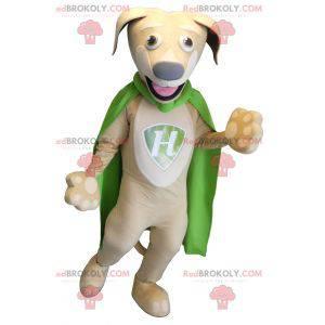 Béžový a bílý psí maskot se zeleným pláštěm - Redbrokoly.com