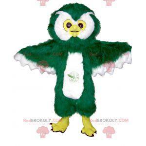 Maskot sova zelená bílá a žlutá chlupatá - Redbrokoly.com
