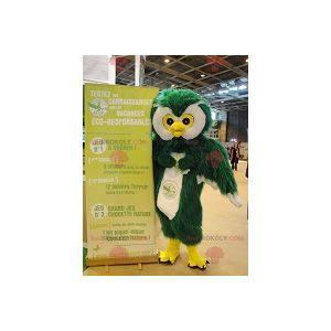 Ugle maskot grønn hvit og gul alle hårete - Redbrokoly.com