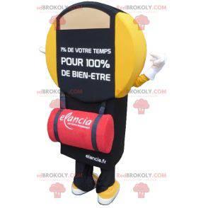 Schwarzes und gelbes Maskottchen der Badezimmerwaage -