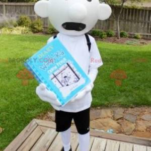 Child schoolboy white snowman mascot - Redbrokoly.com