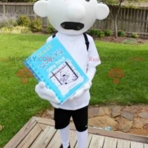 Kind schooljongen witte sneeuwpop mascotte - Redbrokoly.com